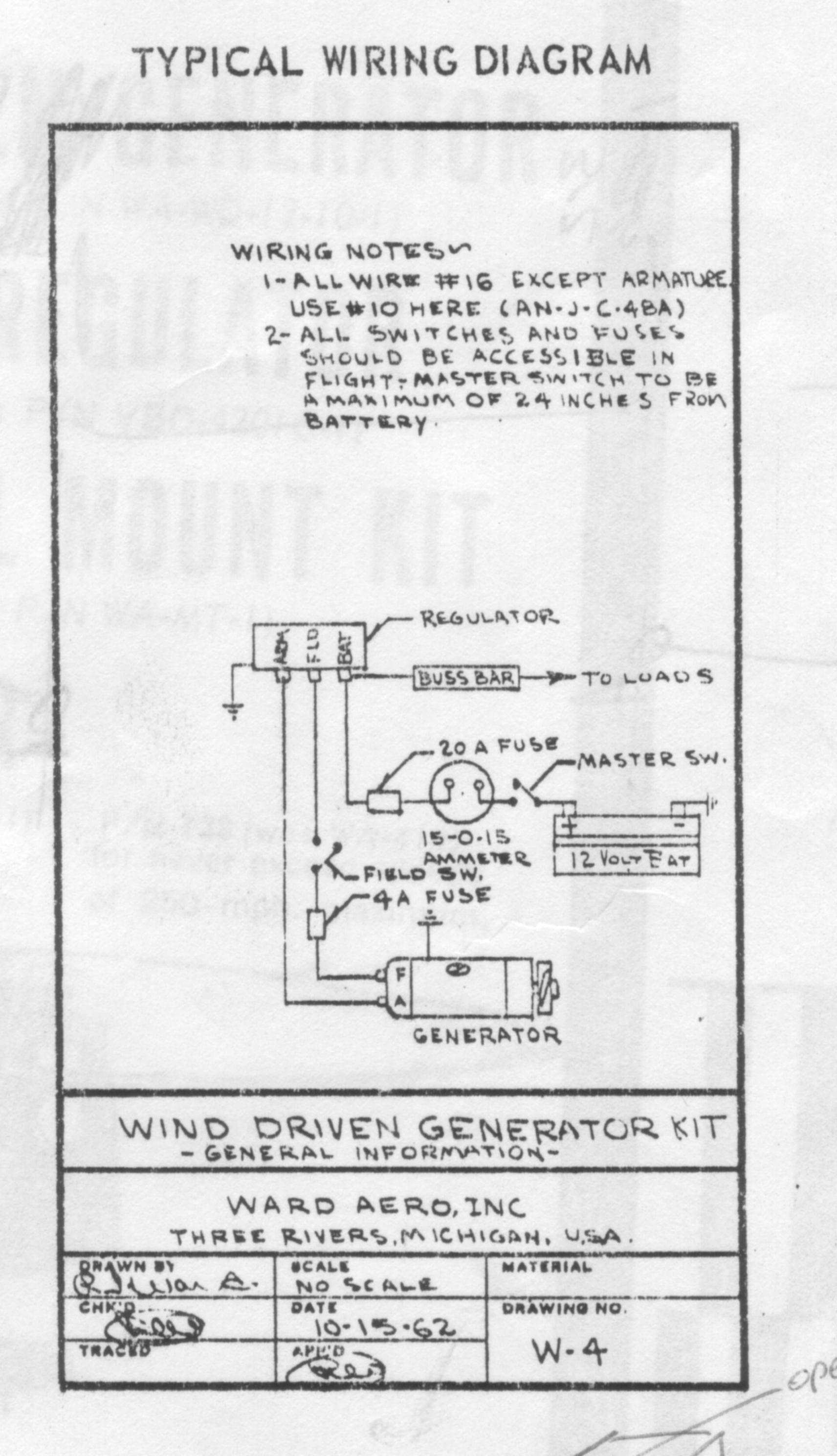 Resources For Monocoupe Restorers Exampletaylorcraftwiringdiagram Scan Of My Original Ward Aero Wind Driven Generator Manual Cover Page Faa Approval Mounting Instructions Wiring Diagram