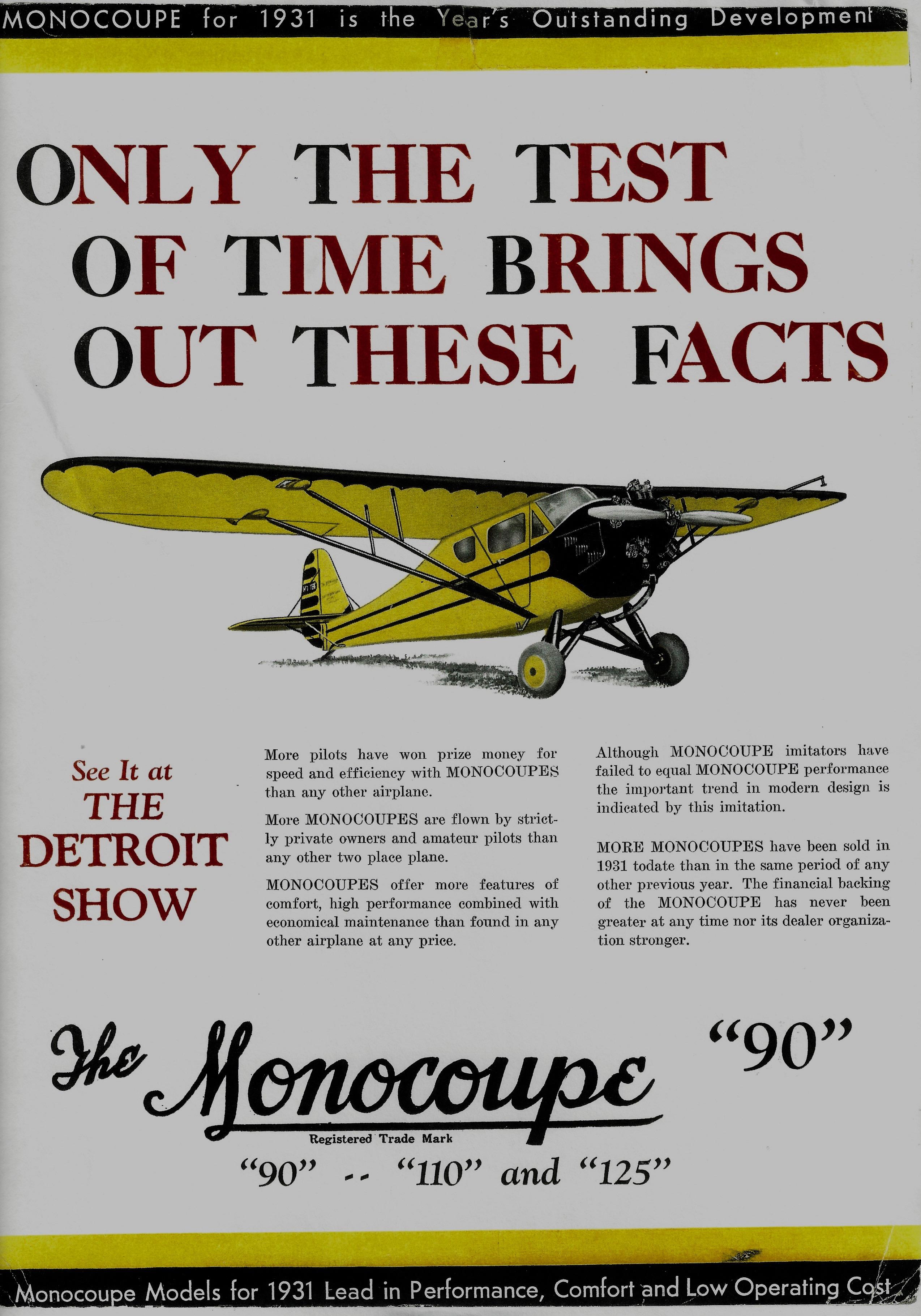 1932 Monocoupe Ad Model 90 (Yellow)